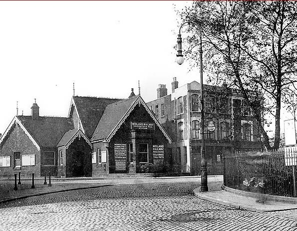 Haverstock Hill station in 1905 with its entrance on Lismore Circus.