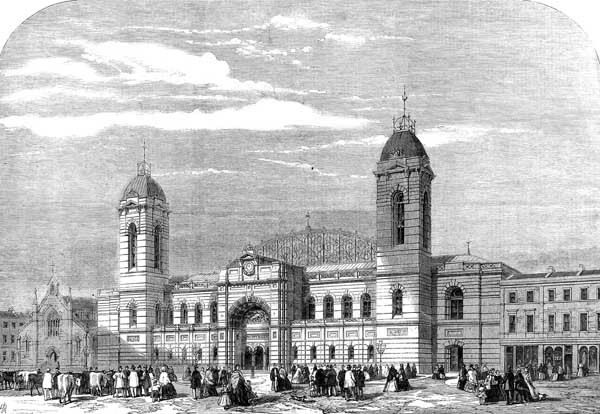 The exterior of the Agricultural Hall in Islington (1861).