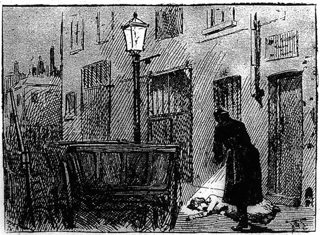 Discovery of the body of Alice McKenzie, Castle Alley, from the Penny Illustrated Paper, July 1889.