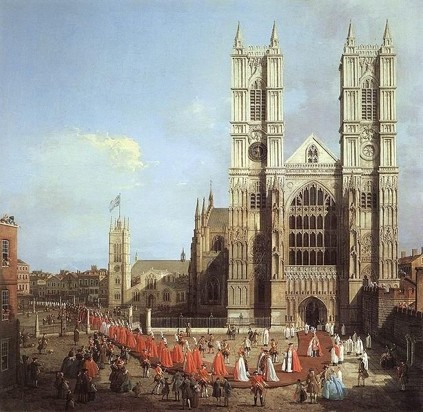 Westminster Abbey with a procession of Knights of the Bath (1749)
