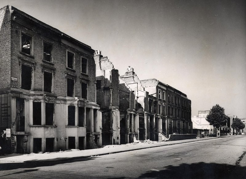 Photographed just after the Second World War, this is the bombed-out Rackham Street, London W10 looking down from the junction with Exmoor Street.