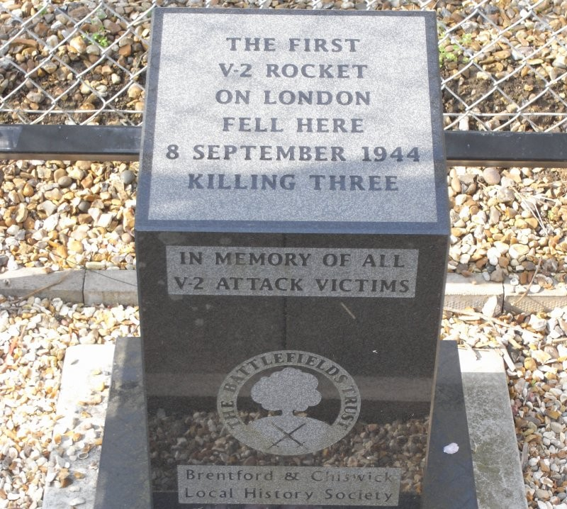Memorial on the site of the first V-2 rocket to land on London during the Second World War, located in Staveley Road, W4.