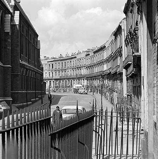A view along Clarendon Street, Paddington, houses now demolished, looking west with St Mary Magdalene's Church to left (1964)