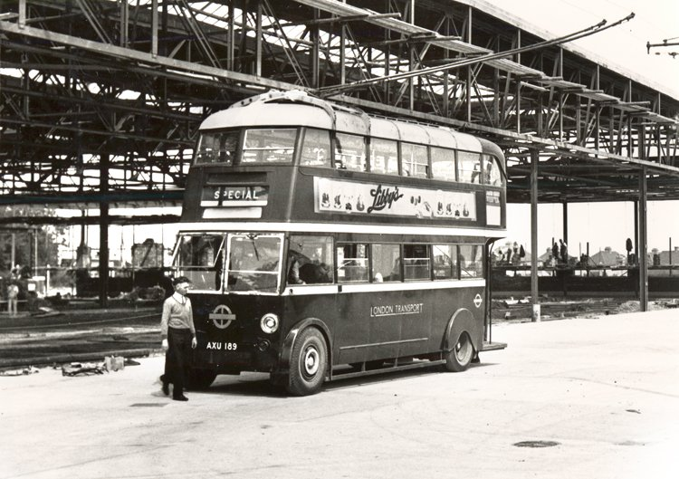 Trolley bus at Erith Road bus depot (1935)